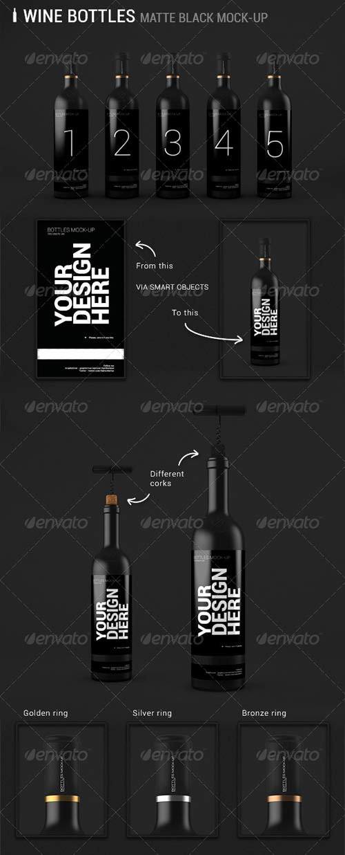 GraphicRiver Wine Bottles Mock-up