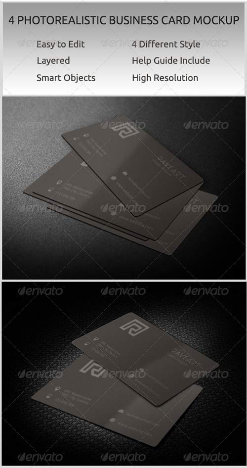 GraphicRiver 4 Photorealistic Business Card Mockup