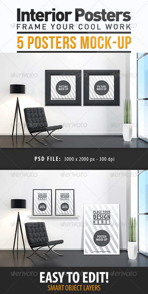 GraphicRiver Interior Posters Mock-Up