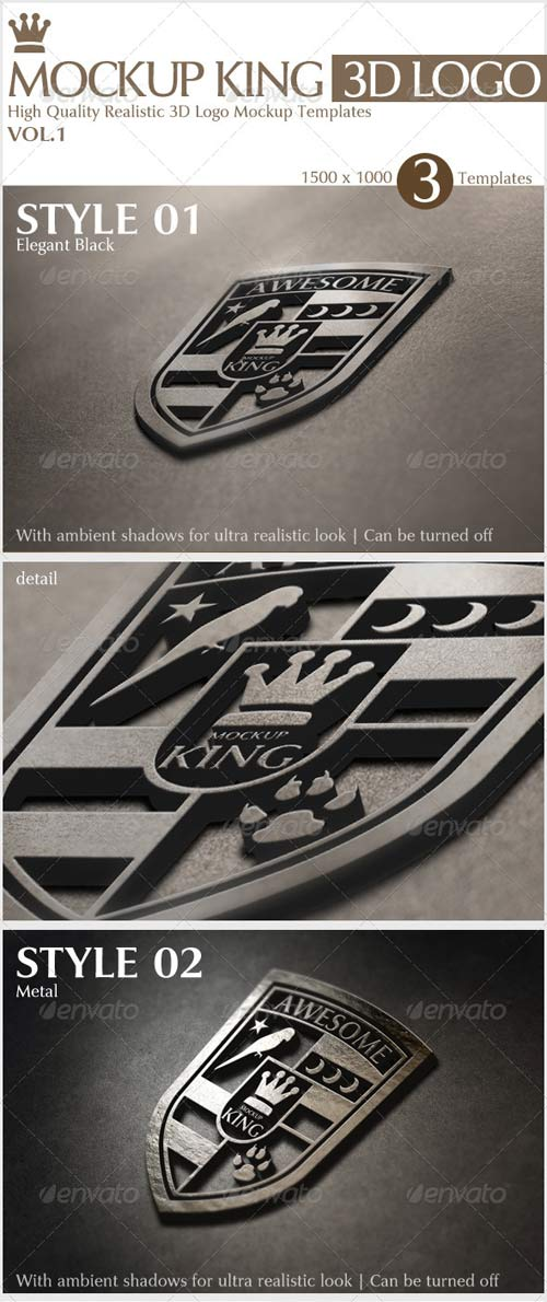 GraphicRiver MockUp King 3D Logo Mock-up Templates Vol.1