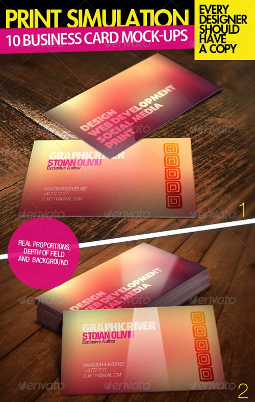 GraphicRiver 10 Realistic Business Card Mock-up Pack Bundle