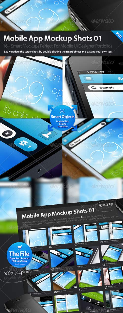 GraphicRiver Dribbble Styles Mobile App Mockups