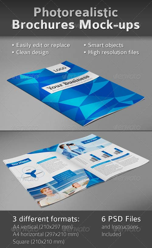 GraphicRiver Photorealistic Brochures Preview Mock-ups