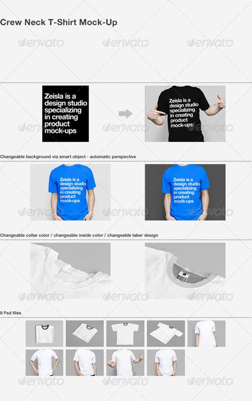 GraphicRiver Crew Neck T-Shirt Mock-Up