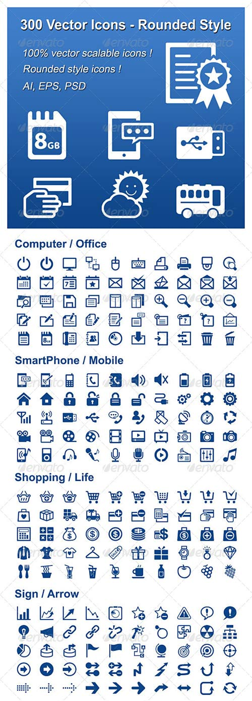 GraphicRiver 300 Vector Icons - Rounded Style