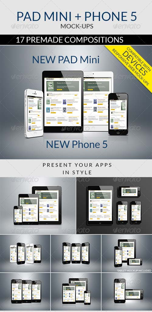 GraphicRiver Pad Mini and Phone 5 Mockups