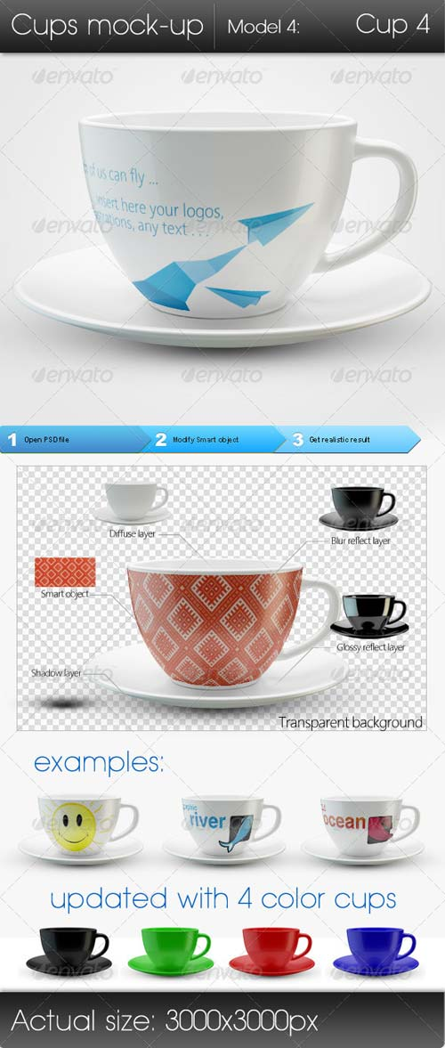 GraphicRiver Cups Mock-up Model4: Cup4
