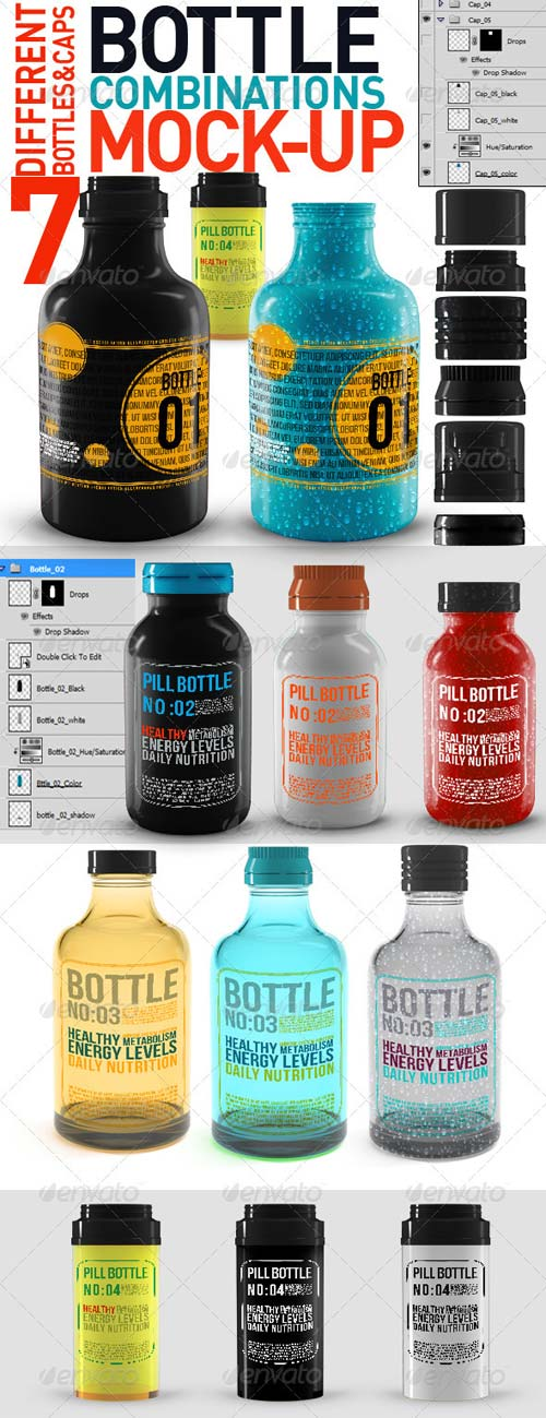 GraphicRiver Bottle Combinations Mock Up