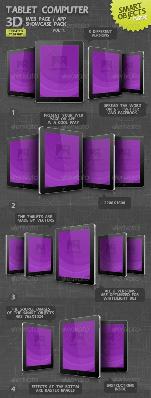 GraphicRiver Tablet Computer 3D Web Page / App Showcase Vol.1