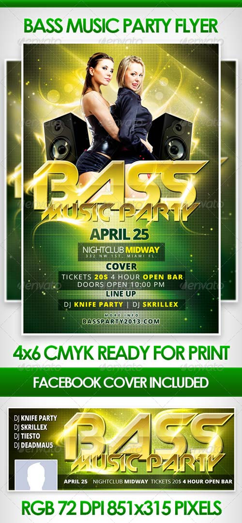 GraphicRiver Bass Music Party Flyer