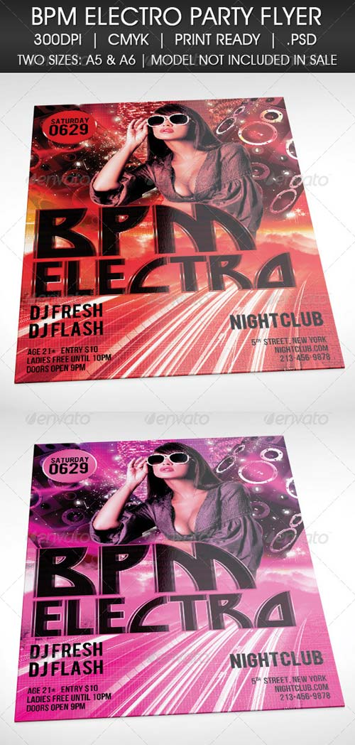GraphicRiver Electro BPM House Techno Party Flyer