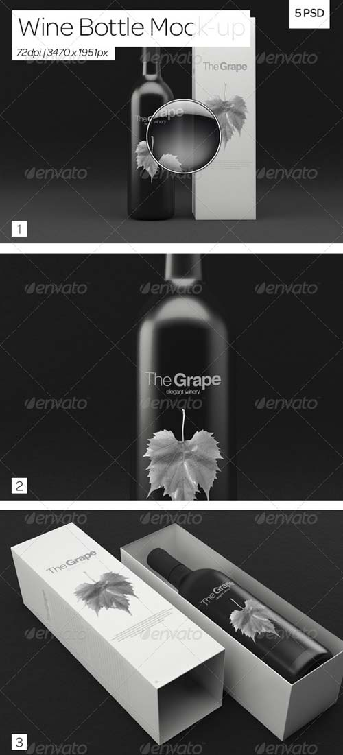 GraphicRiver Wine Bottle Packaging Mock-Up