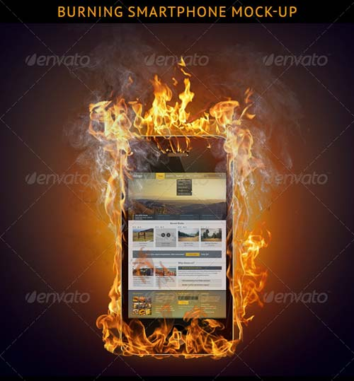 GraphicRiver Burning Smartphone Mock-up