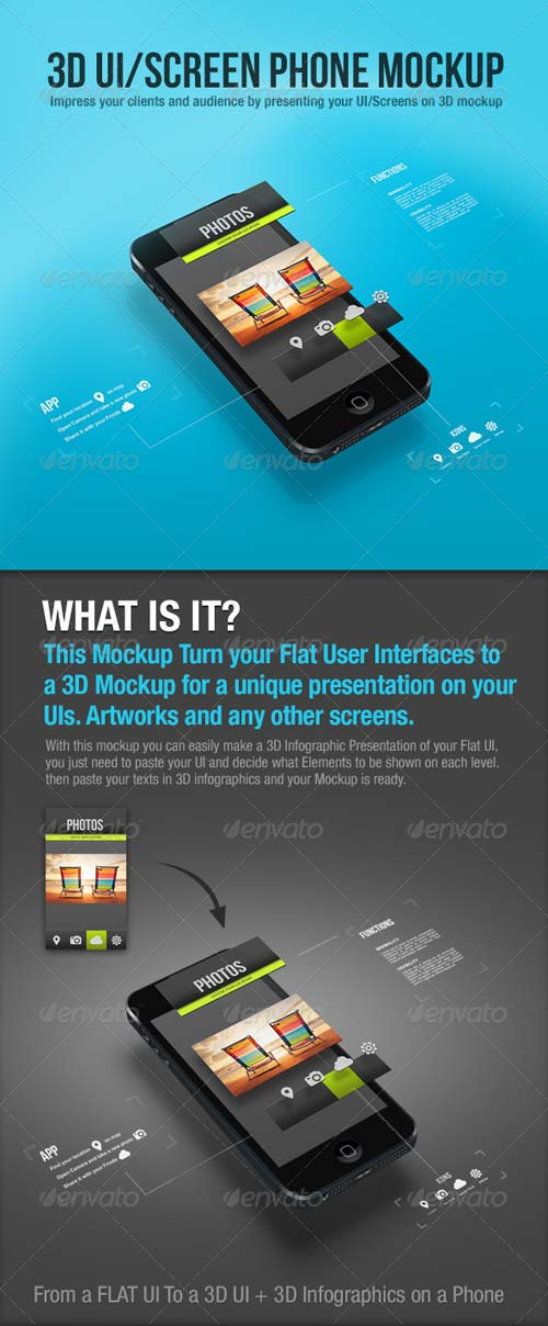GraphicRiver 3D UI/Screen Phone Mockup