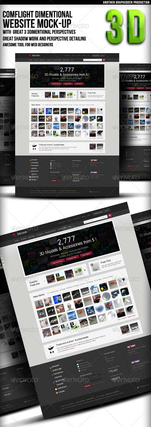 GraphicRiver Comflight Dimensional Web Mock-up (3 set)