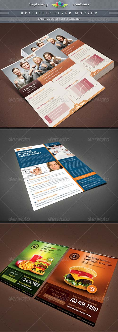 GraphicRiver Realistic Flyer Mockup Template