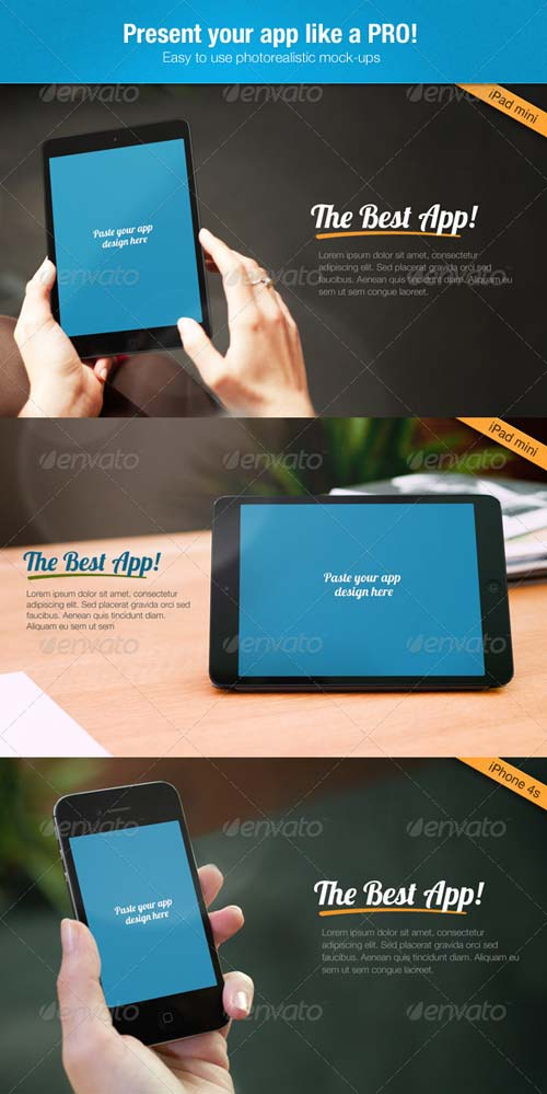 GraphicRiver Multi-Platform App Mock-up Tablet, Phone4, Phone5