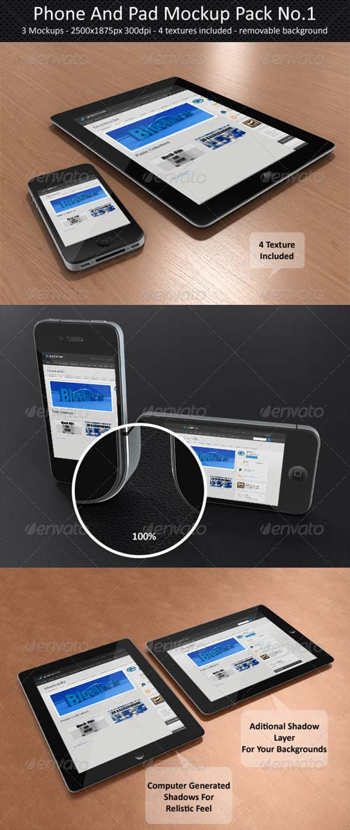 GraphicRiver Phone And Pad Mock-Up Pack No.1