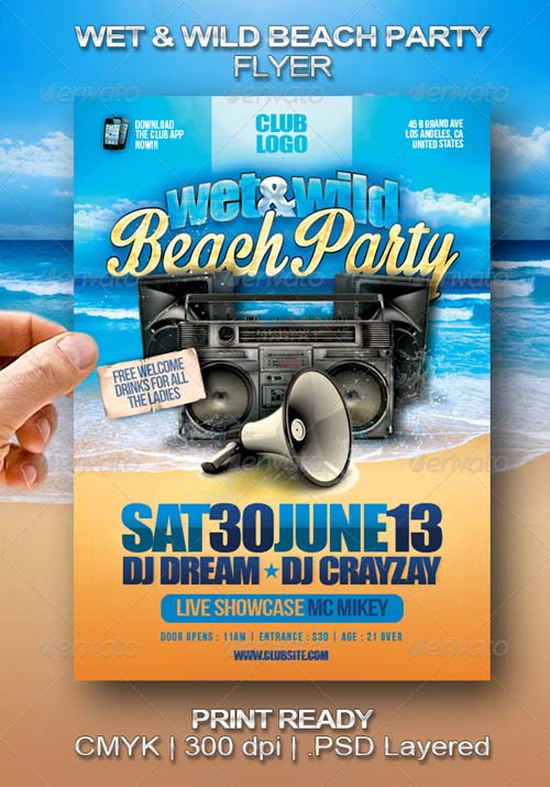 GraphicRiver Wet & Wild Beach Party Flyer