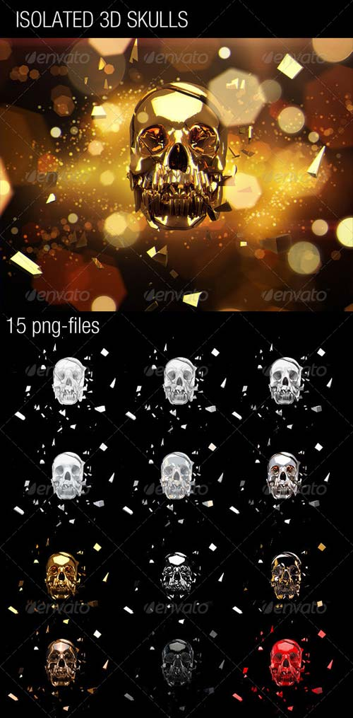 GraphicRiver 15 Isolated 3D Skulls