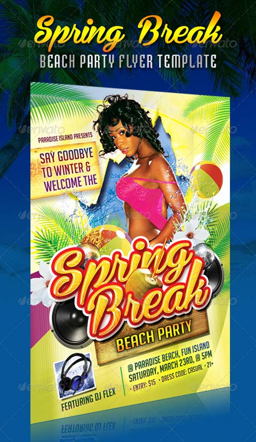 GraphicRiver Colorful Spring Break Beach Party Flyer