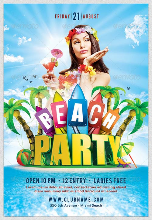 GraphicRiver Beach Party Flyer Template 4332660