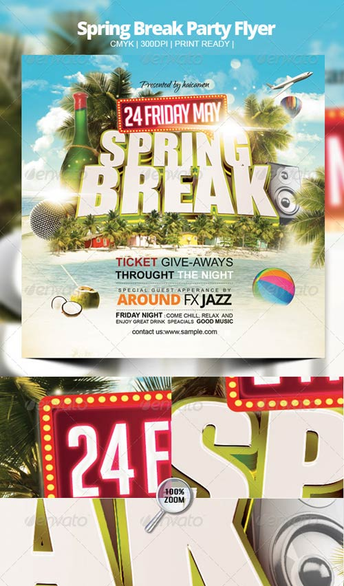 GraphicRiver Spring Break Party Flyer 4118081