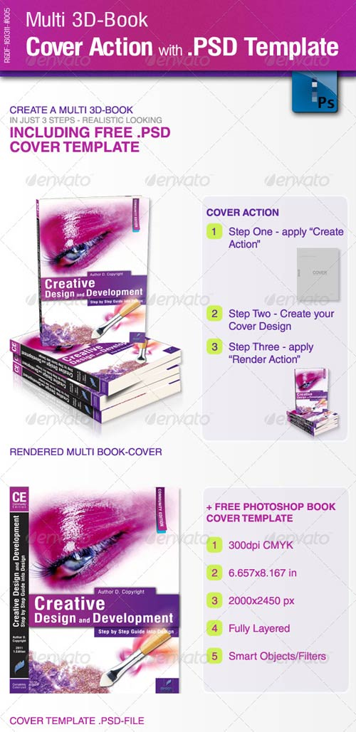 GraphicRiver Multi 3D-Book Cover Action with .PSD-Template