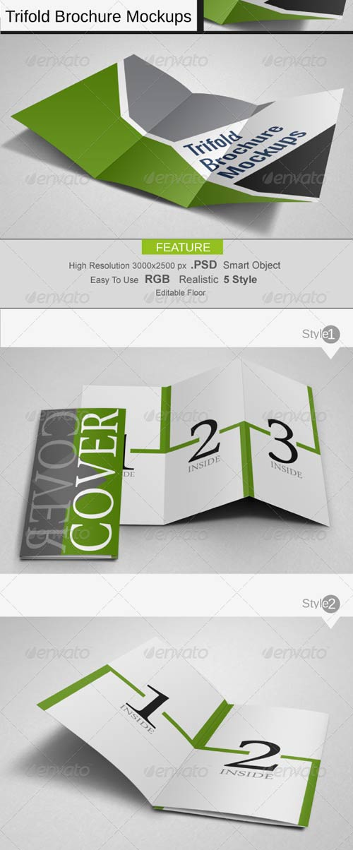 GraphicRiver Trifold Brochure Mockups