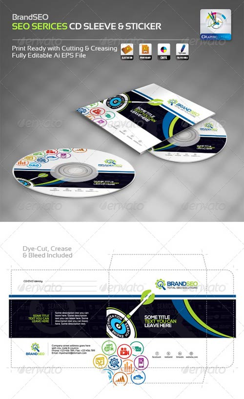 GraphicRiver BrandSEO Creative CD Sleeve & Sticker