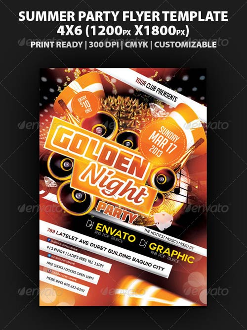 GraphicRiver Golden Night Party Flyer Template