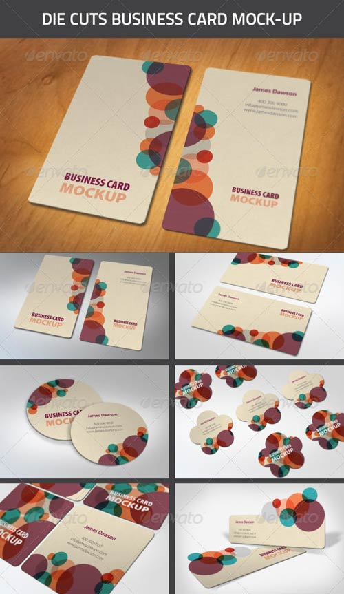 GraphicRiver Die-Cut Business Card Mock-Ups
