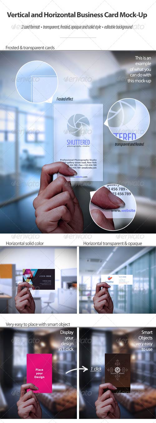 GraphicRiver Vertical and Horizontal Business Card Mock-Up