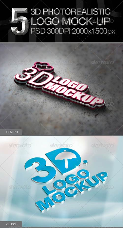 GraphicRiver 5 3D Photorealistic Logo Mock-up