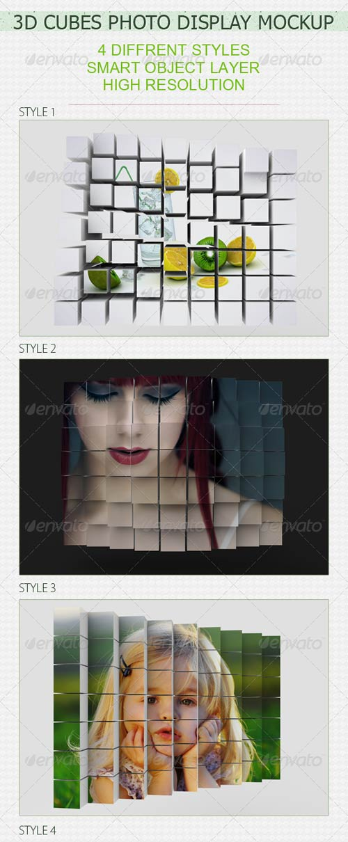 GraphicRiver 3D Cubes Photo Display Mockup