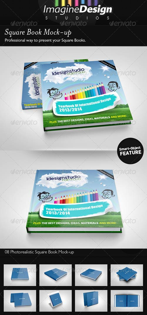 GraphicRiver Square Book Mock-up