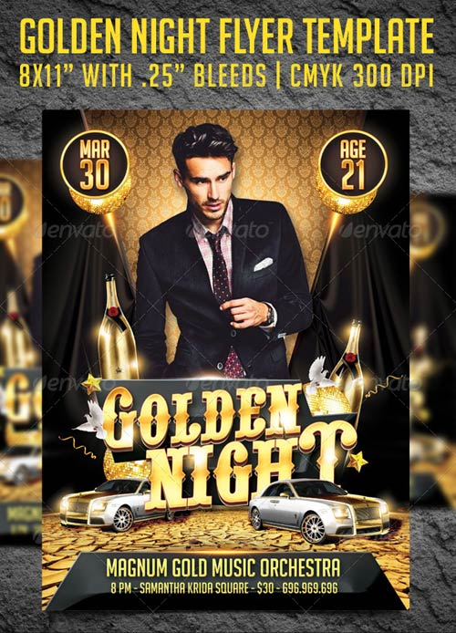 GraphicRiver Golden Night Party Flyer Template 3982003