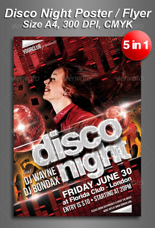 GraphicRiver A4 5in1 Disco Night Club Flyer