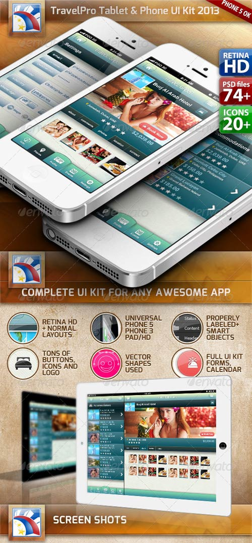 GraphicRiver Travel UI Kit for Phone/Tablet Retina HD (75 PSDs)