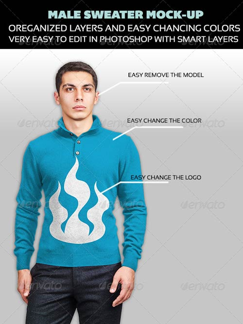 GraphicRiver Male Sweater Mock-up