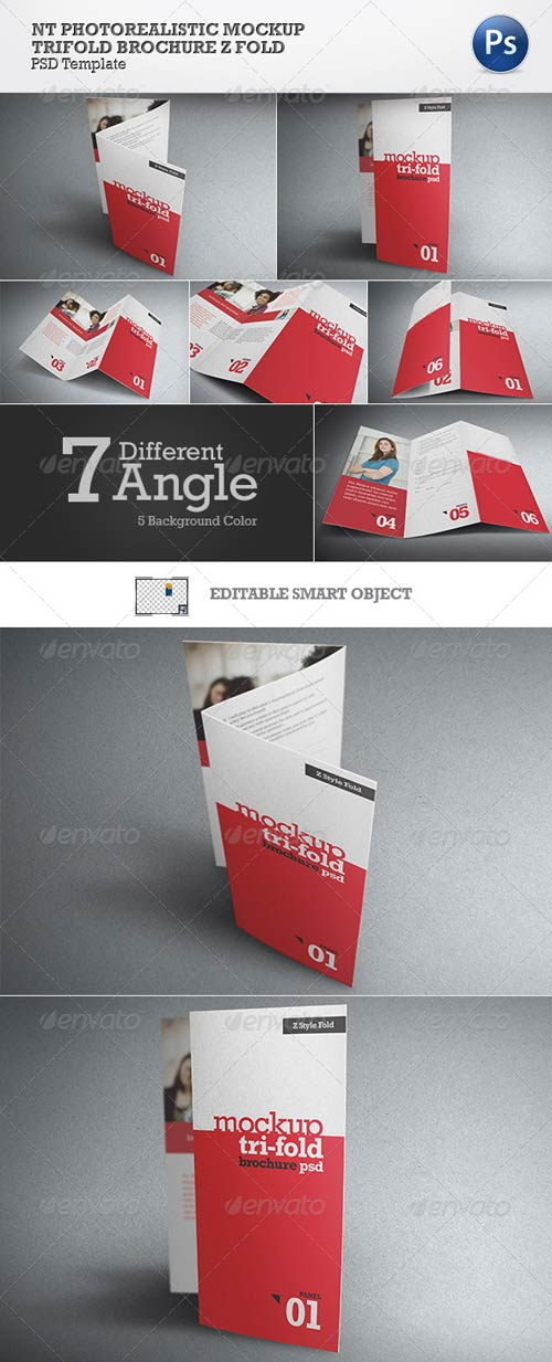 GraphicRiver NT Photorealistic Mockup Trifold Brochure Z Style