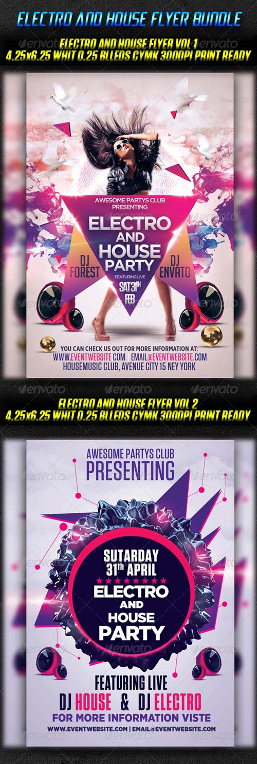 GraphicRiver Electro And House Flyer Bundle