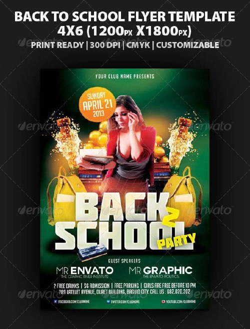 GraphicRiver Back To School Party Flyer Template