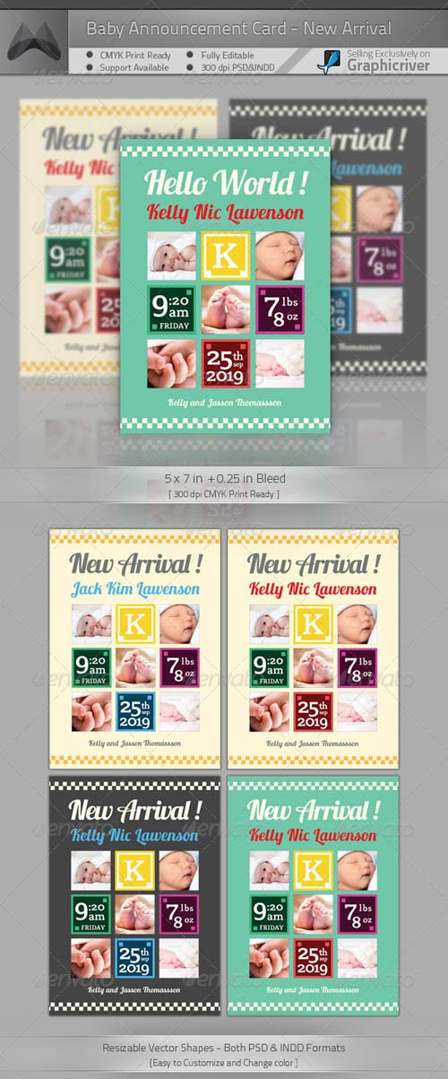 GraphicRiver Baby Announcement Card - New Arrival