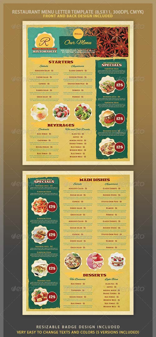 GraphicRiver Restaurant Menu Template 4057527