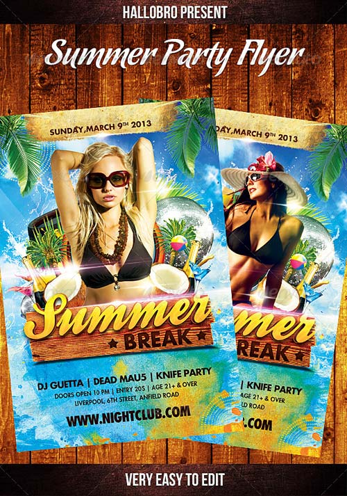 GraphicRiver Summer Party Flyer Template 4474496