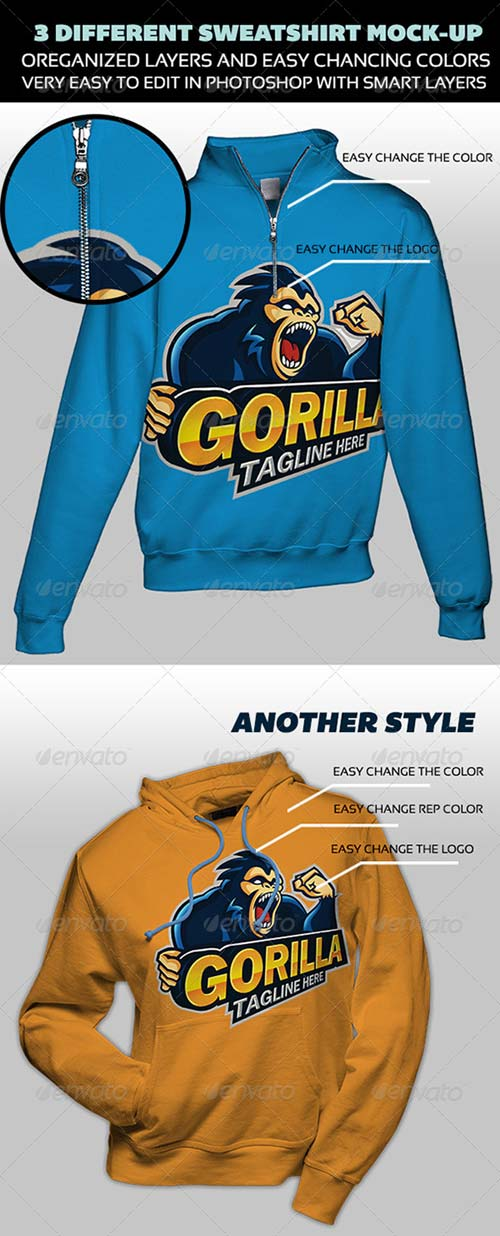 GraphicRiver 03 Different Sweatshirt Mock-up
