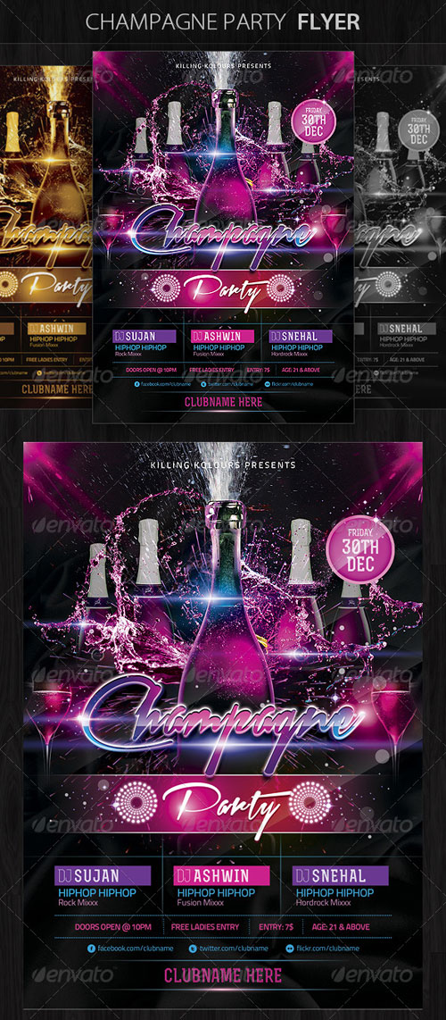 GraphicRiver Champagne Party Flyer