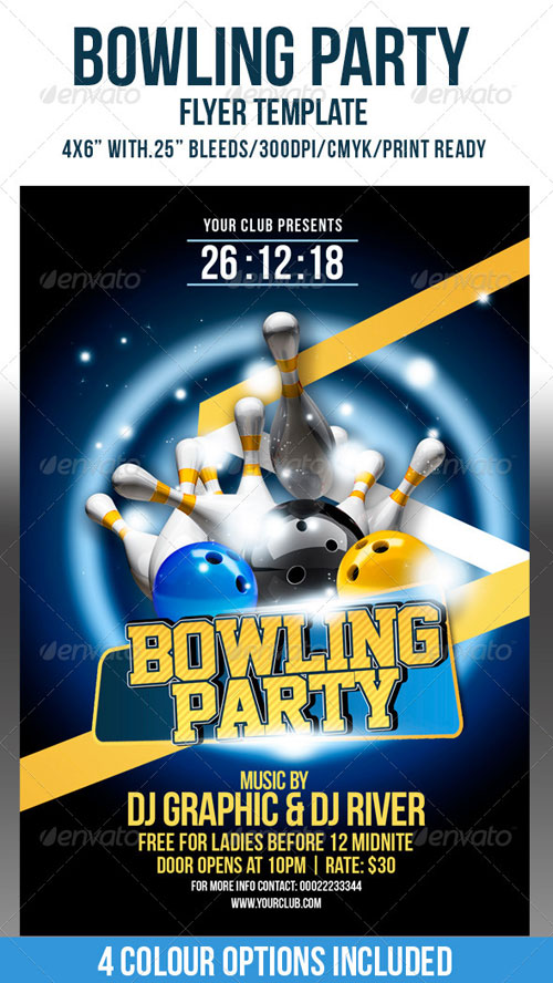 GraphicRiver Bowling Party Flyer Template