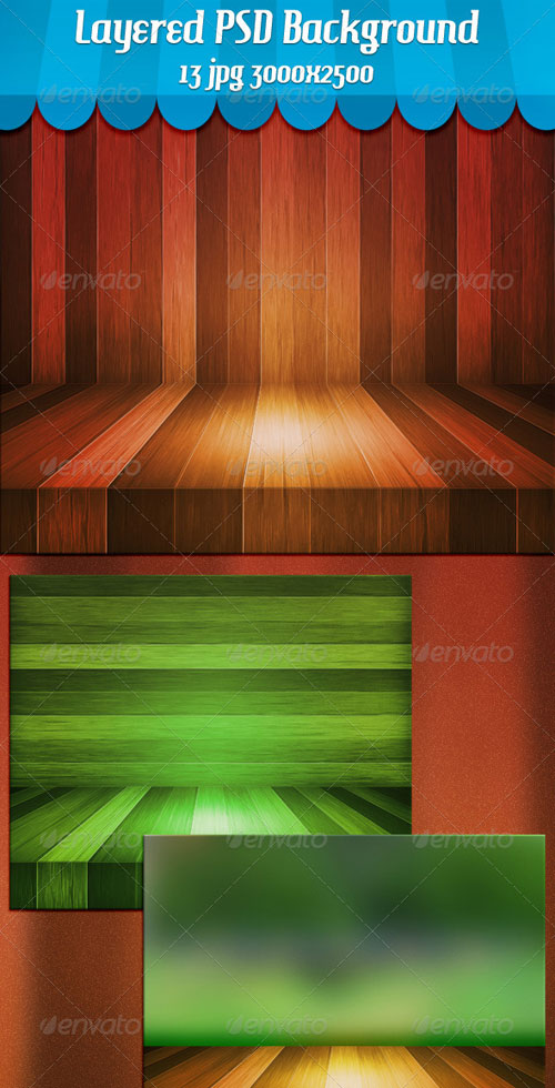 GraphicRiver Wooden Stage Background
